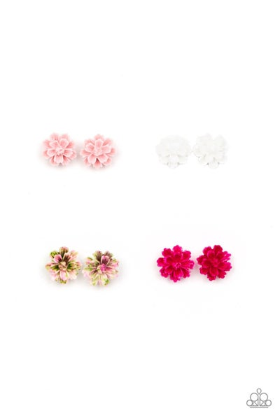 Assorted Colors/Shapes Floral Post Back Earrings for Kids or the Kid at Heart