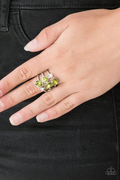 Metro Mingle - Silver with Green and White  Rhinestones Ring