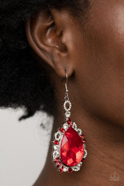 Pre-Order Royal Recognition - Silver with Red Teardrop Rhinestone framed in Red & White Rhinestones Earrings