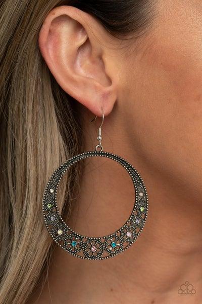 Bodaciously Blooming - Silver Hoop with Multicolored Rhinestones Earrings