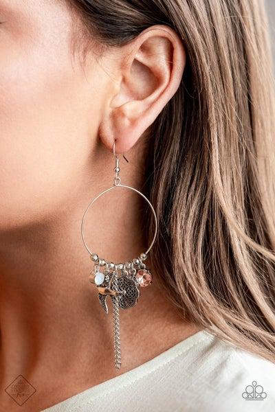 TWEET Dreams - Silver with Iridescent Multi-colored Gems & Charms on Hoop Earrings