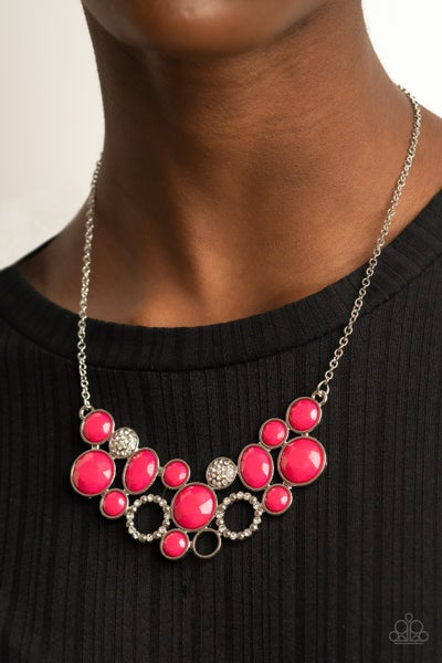 Extra Eloquent - Pink Beads & White Rhinestones Statement Necklace & Earrings