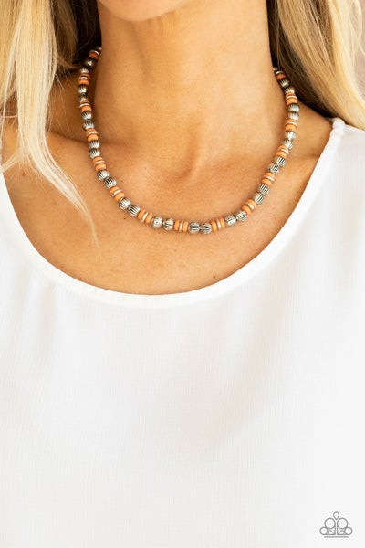 ZEN You Least Expect It - Silver accent discs with Orange Stones Necklace & Earrings