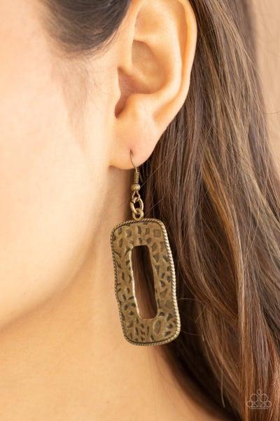 Primal Elements - Hammered, rectangular Brass Earrings