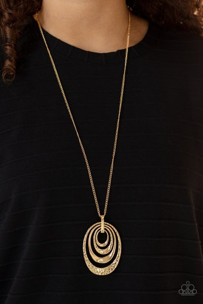 Renegade Ripples - Hammered Gold Oval rings pendant Necklace & Earrings