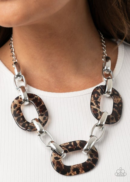 Sink Your Claws In - Silver with Brown Acrylic Cheetah Print Links Necklace