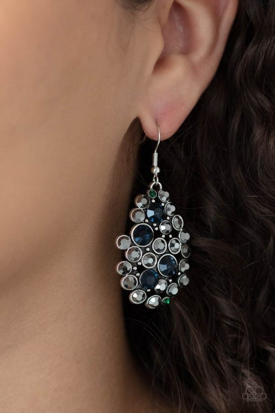 Pre-Order Smolder Effect - Multi Hematite, Green & Blue Rhinestone Cluster Earrings