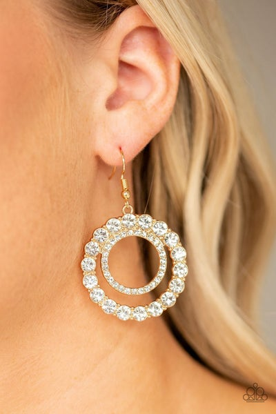 Spotlight Shout Out - Gold Circles with White Rhinestones Earrings