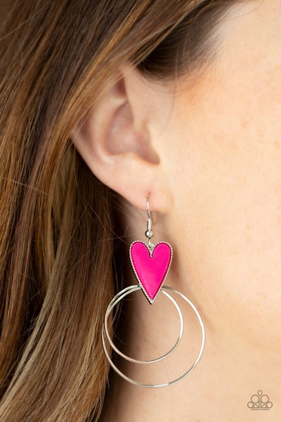 Happily Ever Hearts - Pink Heart carries double Silver Hoops Earrings