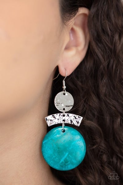 Pre-Sale Diva Of My Domain - Silver with Blue Wooden Disc Earrings