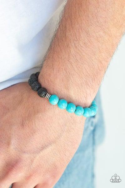 Destiny - Turquoise & Black Bead Pull-Tight Men's Bracelet