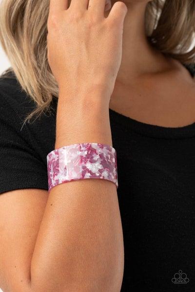 Freestyle Fashion - Pink, White & Purple Marbleized Acrylic Bracelet