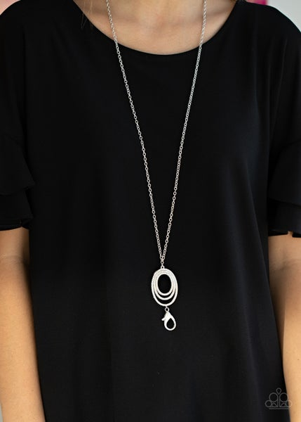 Dizzying Dazzle - Silver with White Rhinestone Encrusted Pendant Lanyard Necklace