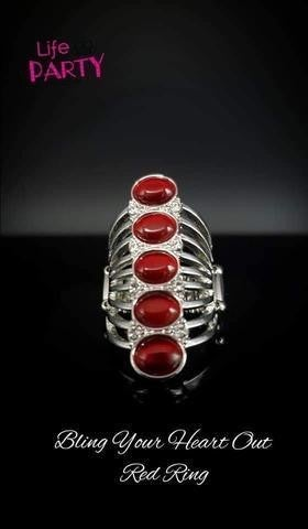 BLING Your Heart Out - Silver with Red Moonstones Ring - Life of the Party Exclusive