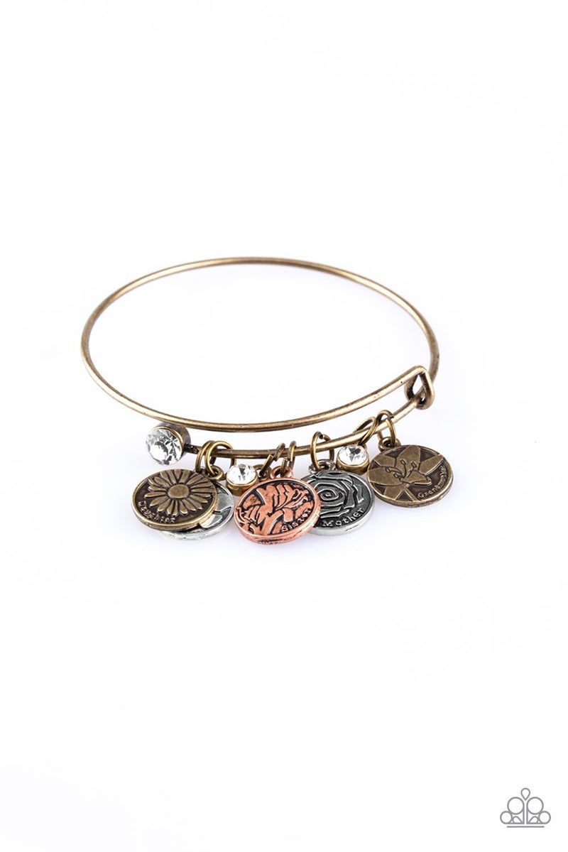 Role Of A Lifetime - Multi-Metal  - Mother, Daughter, Sister, Grandmother & Friend Charms expandable coil Bangle Bracelet