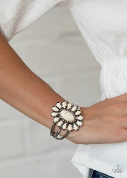Sedona Spring - Silver with White Crackle Stones Cuff Bracelet