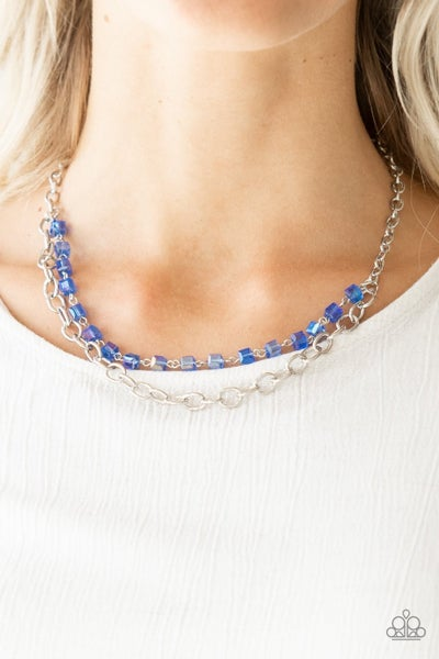 Block Party Princess - Silver with a layer of Iridescent Blue Crystal Cubes Necklace & Earrings