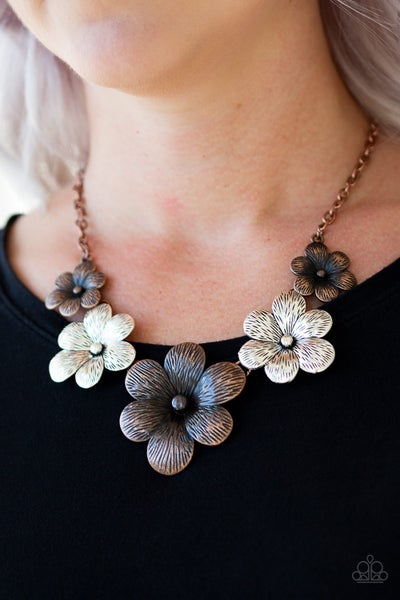 Pre-Sale Secret Garden - Silver & Copper Flower Necklace & Earrings
