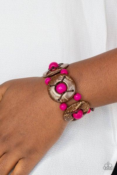 Pre-Sale Island Adventure - Pink & Brown Wood Stretch Bracelet