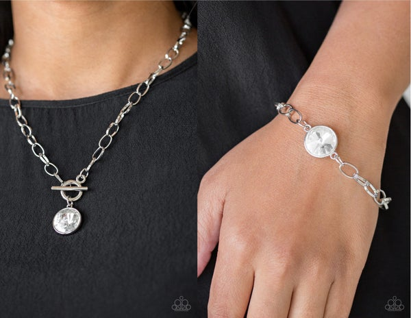 She Sparkles On and All Aglitter Silver Toggle Lock with Large White Rhinestone Necklace & Bracelet Set