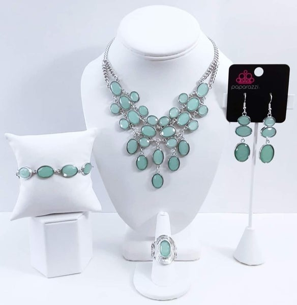 Glimpses of Malibu - Silver with Green Moonstone - May 2021 Fashion Fix Set