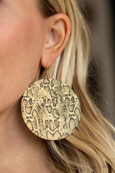 Animal Planet - Gold Metal Python Print Earrings