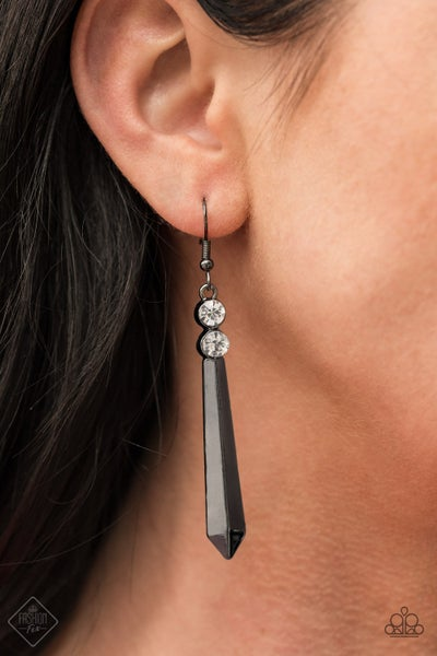Pre-Order Sparkle Stream - Gunmetal Acrylic Rod with White Rhinestones Earrings