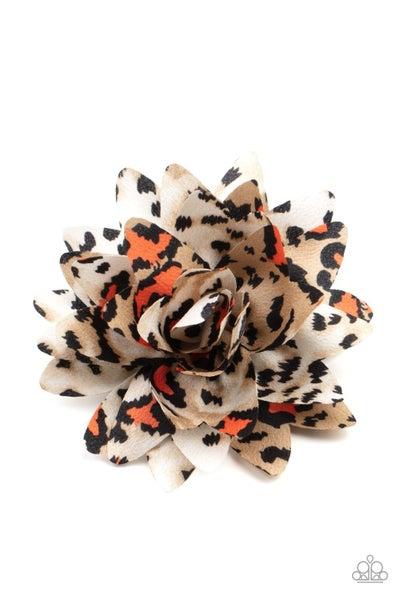 Pre-Order Jungle Paradise - Orange Animal Print Hair Bow Clip