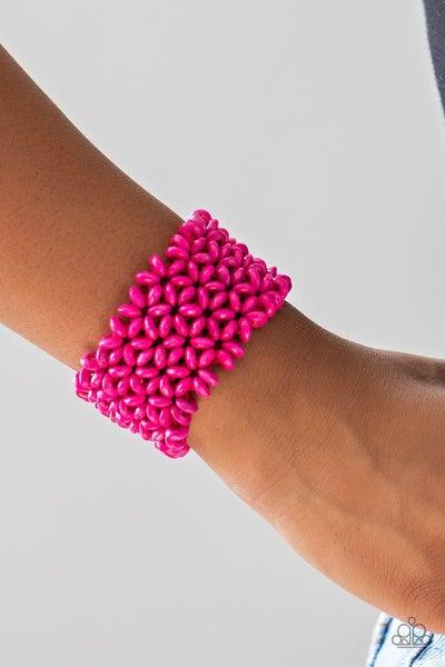 Island Expression - Pink Wood Stretch Bracelet