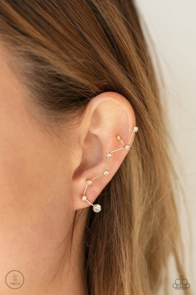 CONSTELLATION Prize - Gold Ear Crawlers with White Rhinestones Earrings