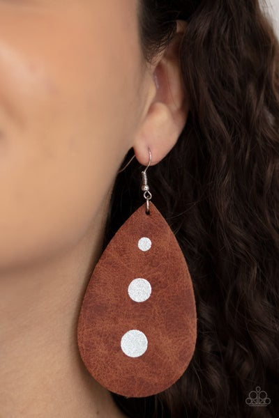 Rustic Torrent - Brown Leather with Silver drops Earrings