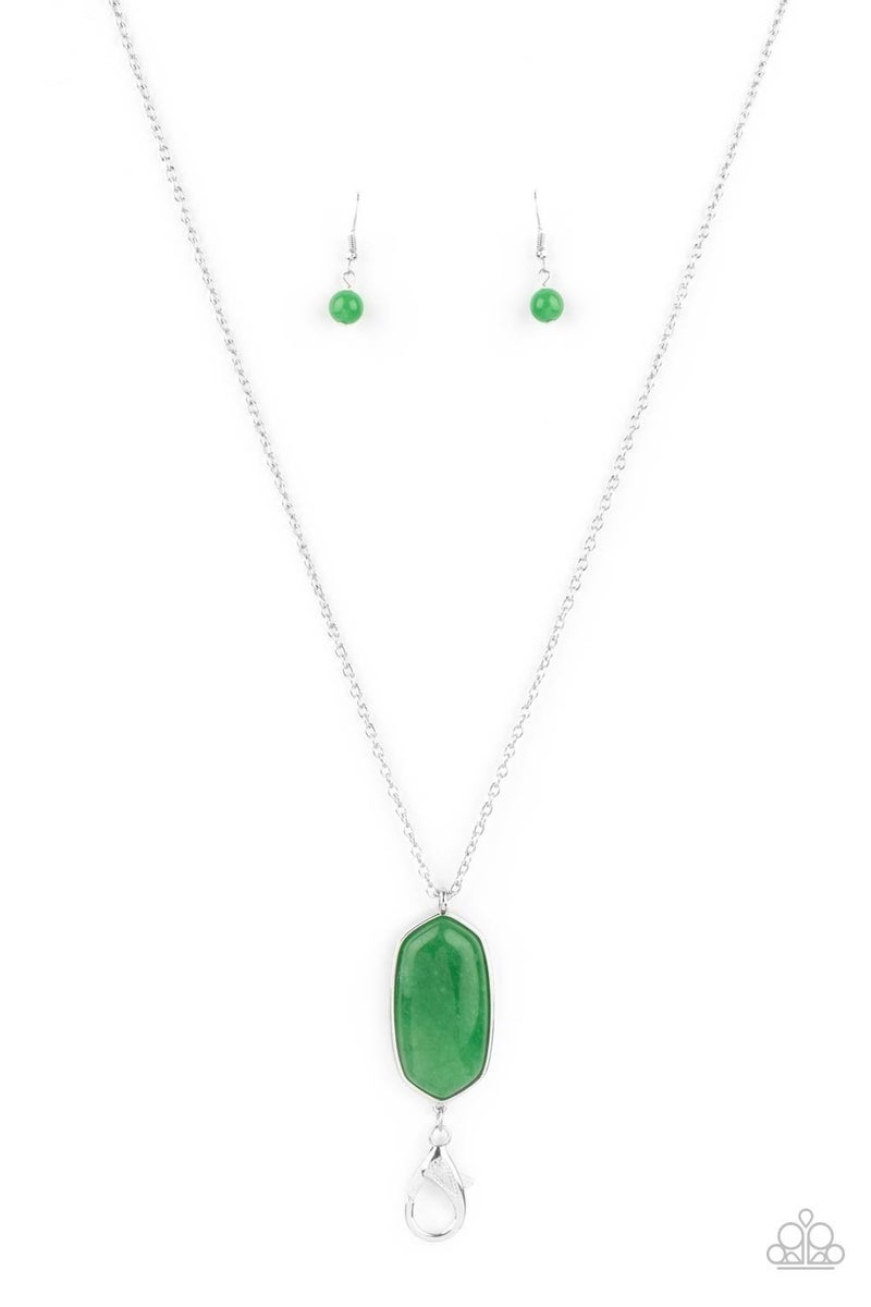 Elemental Elegance - Green Glassy Jade Stone holds a Lobster Claw Lanyard Necklace & Earrings