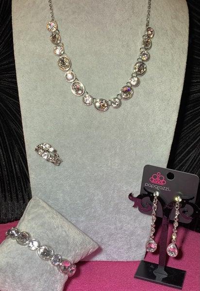 Girls Gotta Glow, Still Glowing Strong, Must Love Diamonds & Interstellar Fashion - Necklace, Bracelet, Earrings & Ring Set