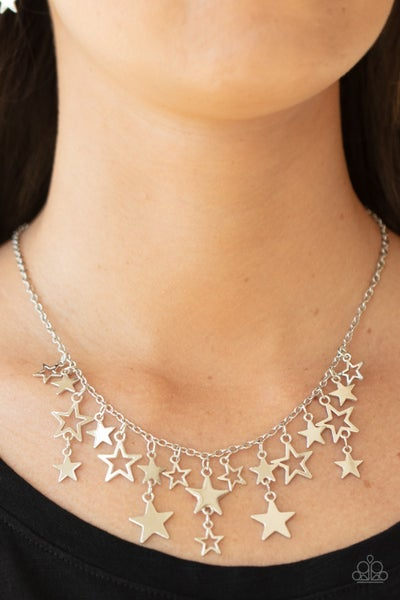 Stellar Stardom - Silver with a Fringe of Stars Necklace with Earrings
