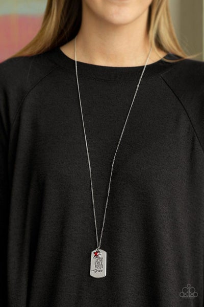 Home of the Free - Silver Dog Tag with Red Star Rhinestones Necklace & Earrings
