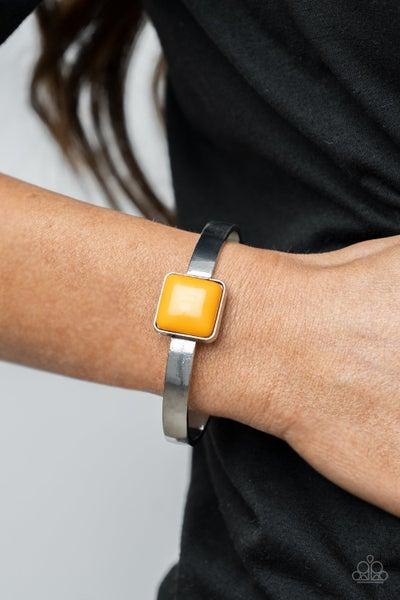 Prismatically Poppin - Orange - Marigold bead pressed into sleek Silver Cuff Bracelet