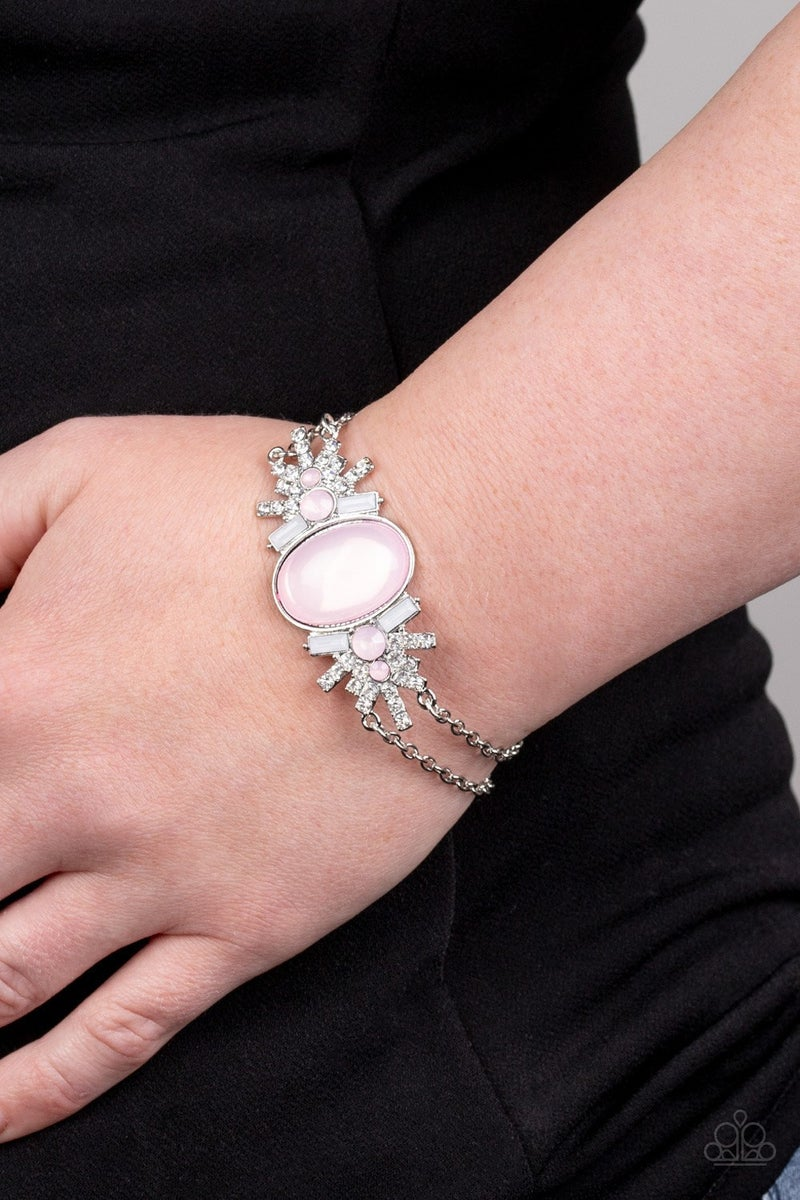 Brilliantly Boho - Silver with Opaque Pink Moonstones & Rhinestones Bracelet