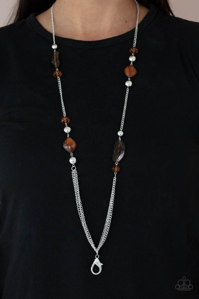 Pre-Order Spectacularly Speckled - Silver with Brown Acrylic Bead Lanyard Necklace & Earrings