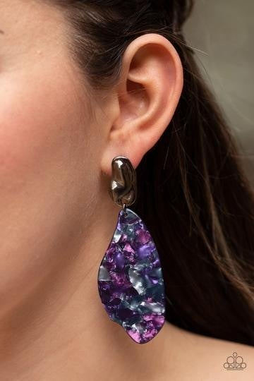Fish Out of Water - Paparazzi - Purple Faux Marble Acrylic Resin Gunmetal Post Earrings