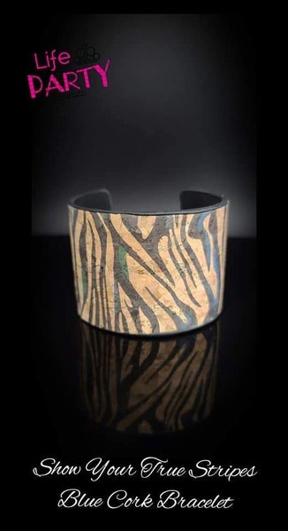 Show Your True Stripes - Zebra Print on Cork with Blue - April 2020 Life Of The Party