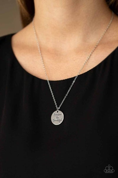 America The Beautiful - Silver engraved pendant Necklace & Earrings