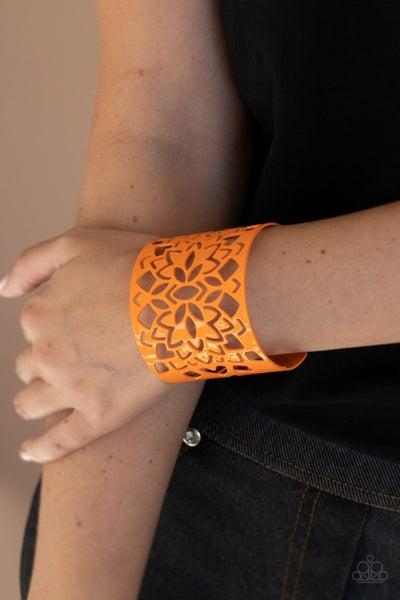 Pre-Sale Hacienda Hotspot - Orange Floral stencil Cuff Bracelet
