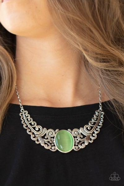 Pre-Sale Celestial Eden - Silver statement piece with Green Moonstone center Necklace & Earrings