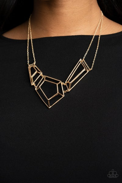 3-D Drama - Gold 3-Dimensional Framed Necklace & Earrings