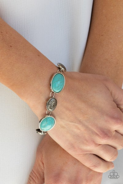 Cactus Country - Silver with Oval Turquoise Bracelet