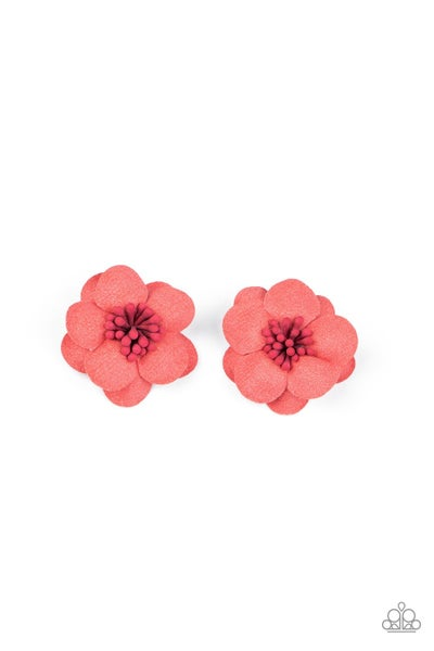 Look At Her GROW! - Red Floral Blossom Hair Clip