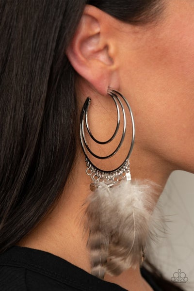 Freely Free Bird - Silver Hoops with Large Feathers Earrings