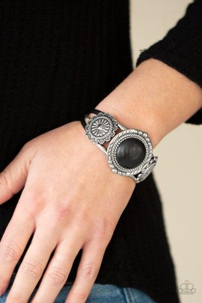 Pre-Sale Mojave Motif - Silver bohemian style with large Black Stone center Cuff Bracelet