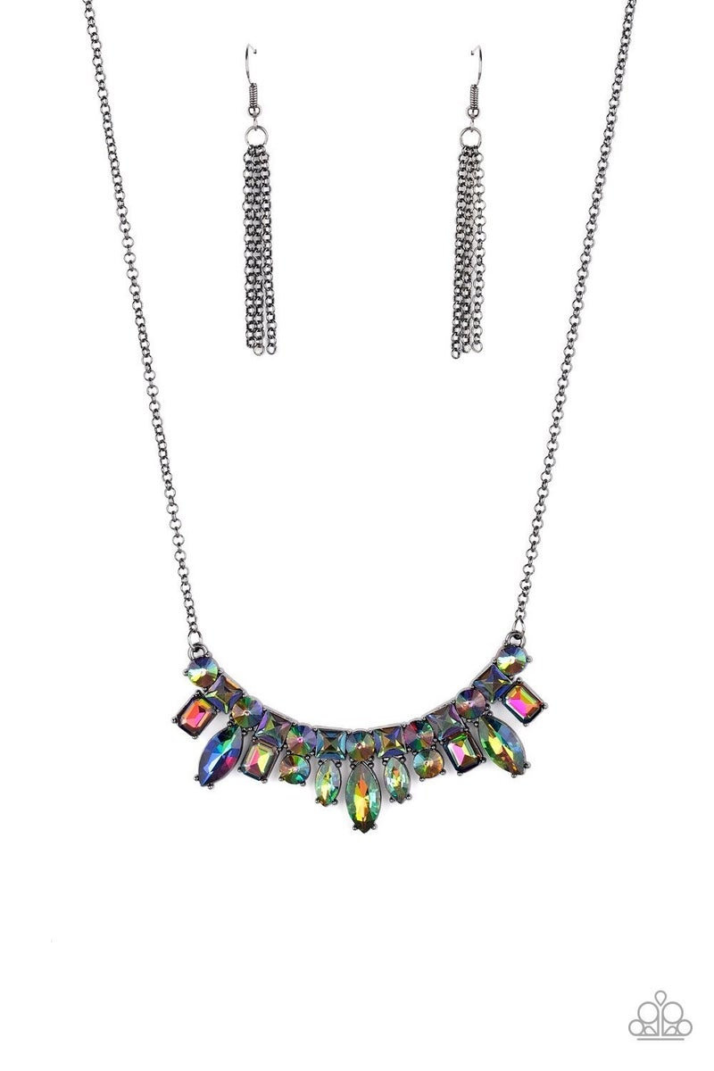 Wish Upon a Rock Star - Gunmetal with Multi - Oil Spill Rhinestone Necklace & Earrings