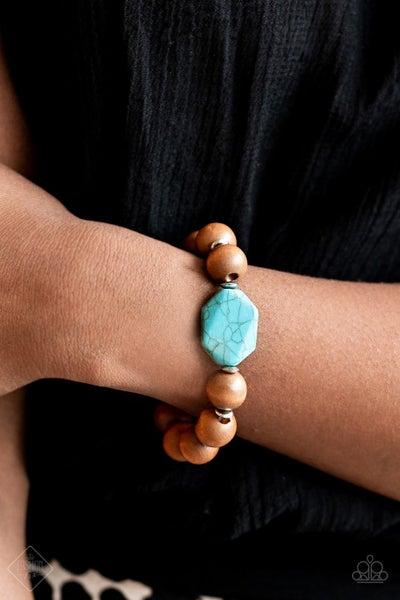 Abundantly Artisan - Wood Beads with Turquoise Stones Stretch Bracelet